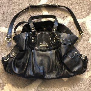 Coach Black Leather Shoulder Bag/Carryall Purse